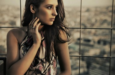 beauty posing over urban background